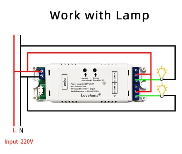 LoveAnna 2CH WiFi Switch: 2 lamps wiring diagram