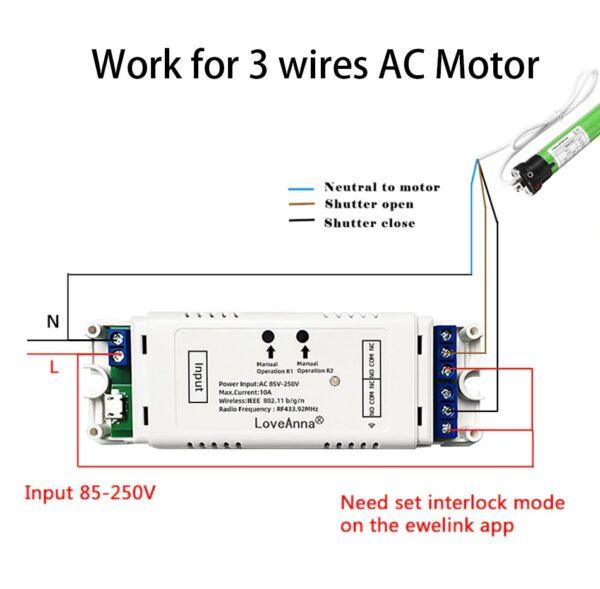 LoveAnna 2CH WiFi Switch: 3 wires AC motor wiring diagram