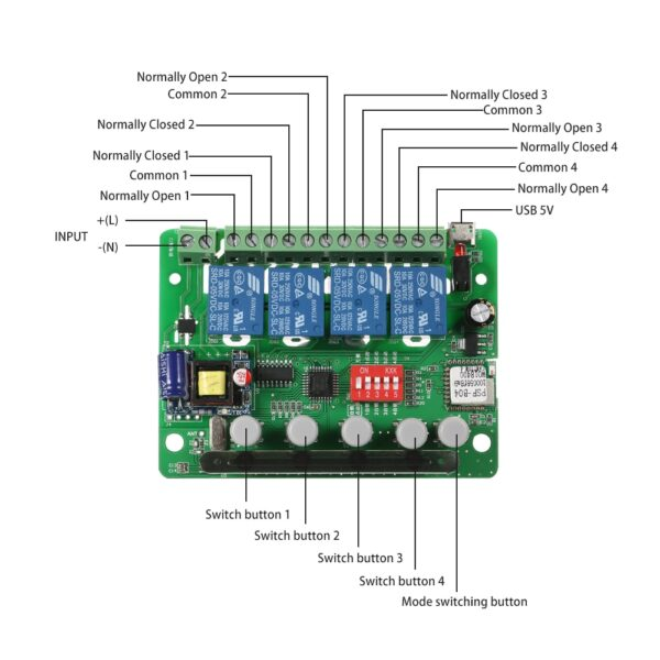 Oisentech YK-4CH-5V-PRO - Overview off all connectors and buttons