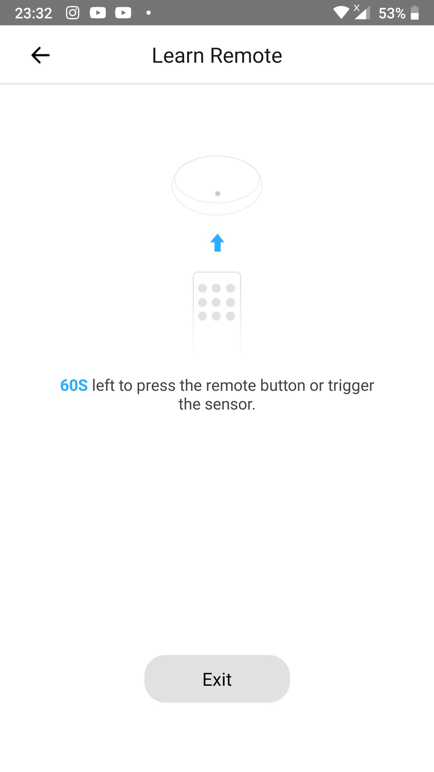 Learn RF remote control button