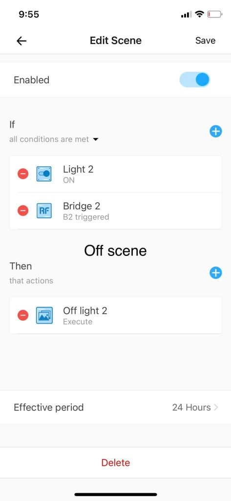 KB: One button to toggle another device: automated scene: OFF