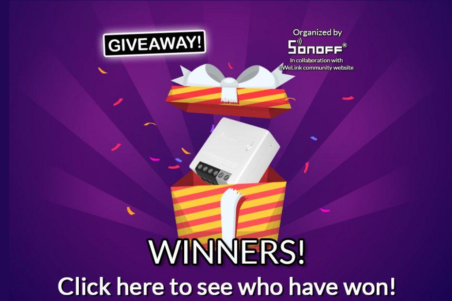 Sonoff & eWeLink community website giveaway: Sonoff MINIR2 - WINNERS! - frontpage banner