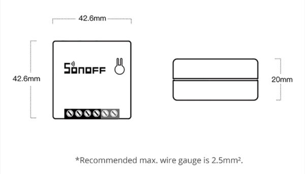Sonoff MINIR2: dimensions