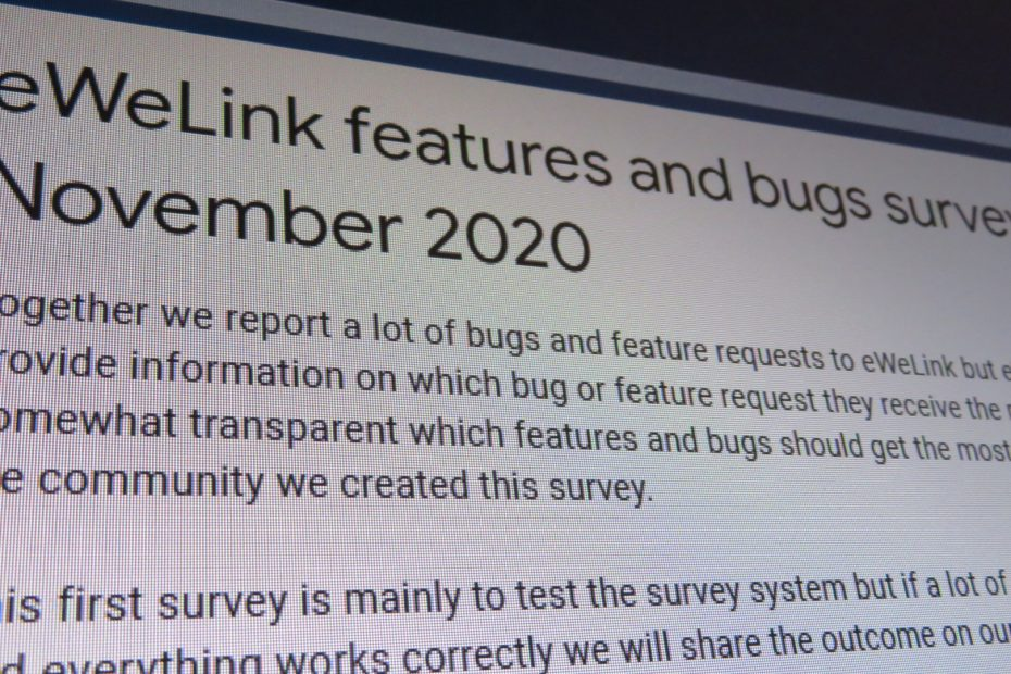 Features and bugs survey November 2020