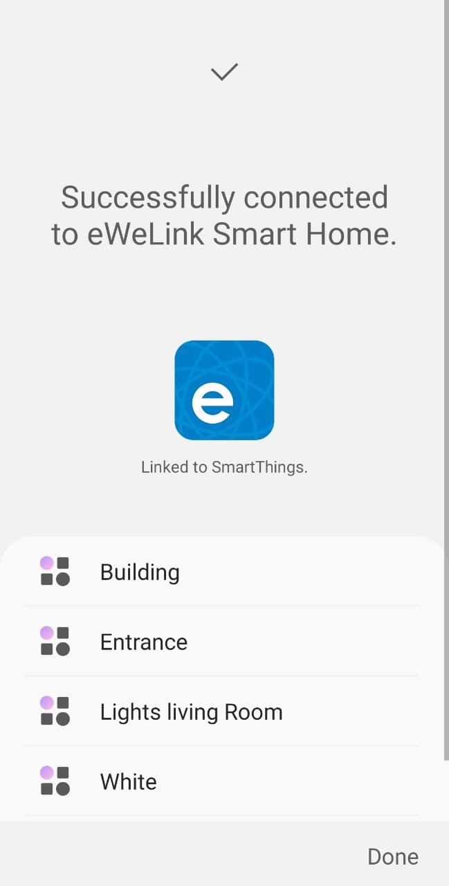 SmartThings linking - Step 7: close devices added confirmation