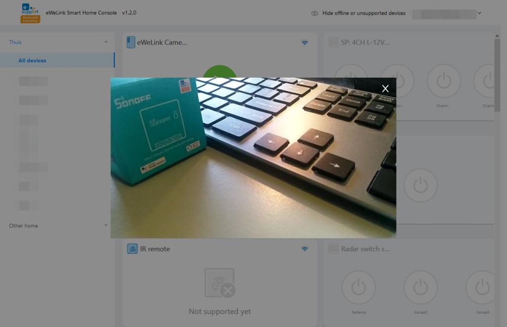 eWeLink Camera: showing live camera feed on eWeLink Web