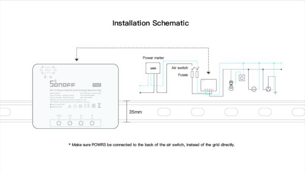 Sonoff POWR3: installation schematic
