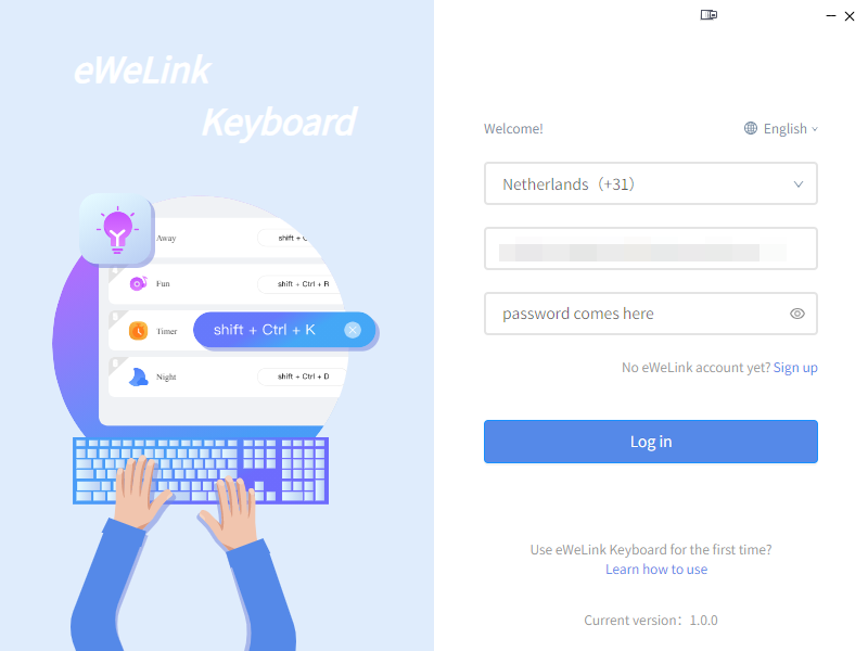 KB: Link 2 scenes to shortcuts in eWeLink Keyboard: login to eWeLink Keyboard