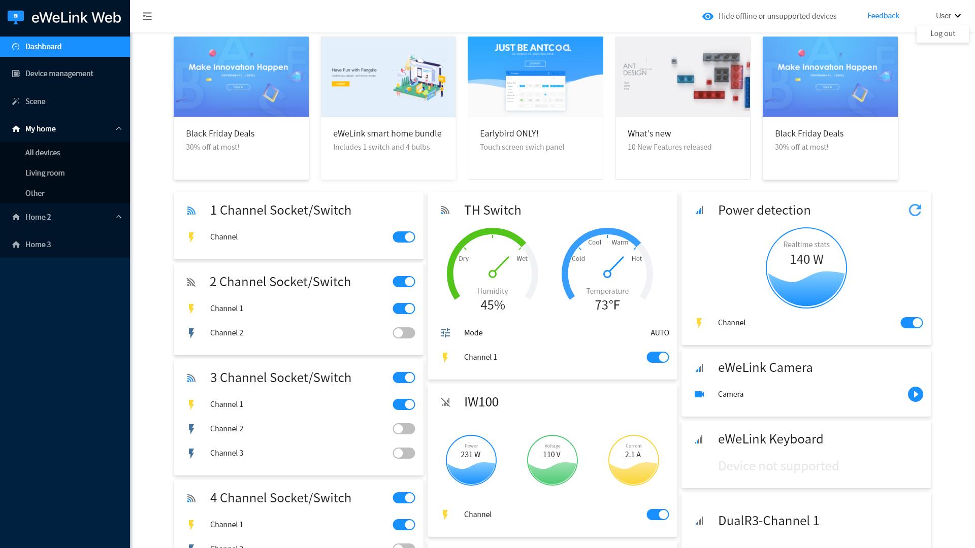 eWeLink Web - Dashboard