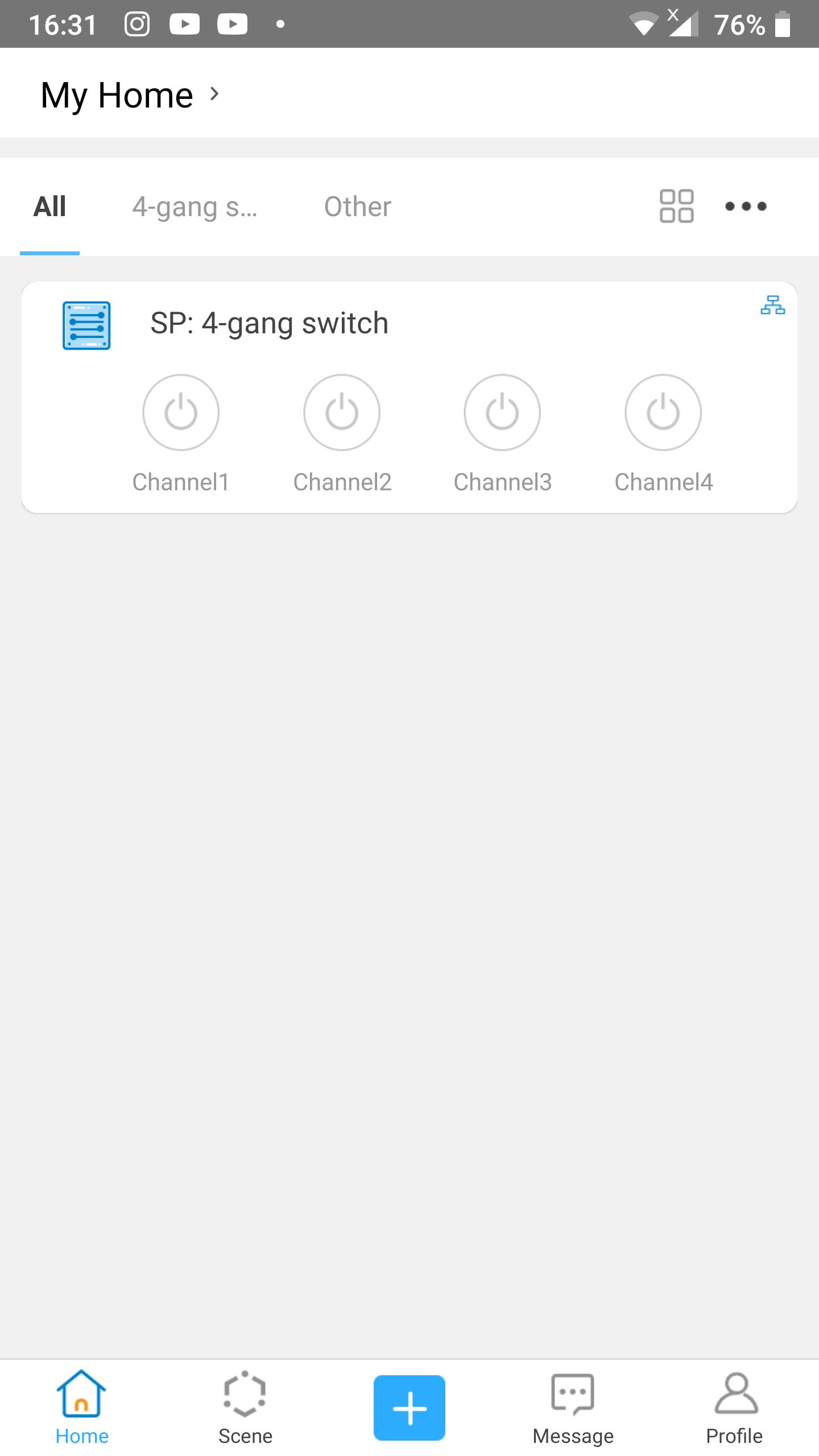 Link 2 scenes to schortcuts in eWeLink Keyboard: start screen