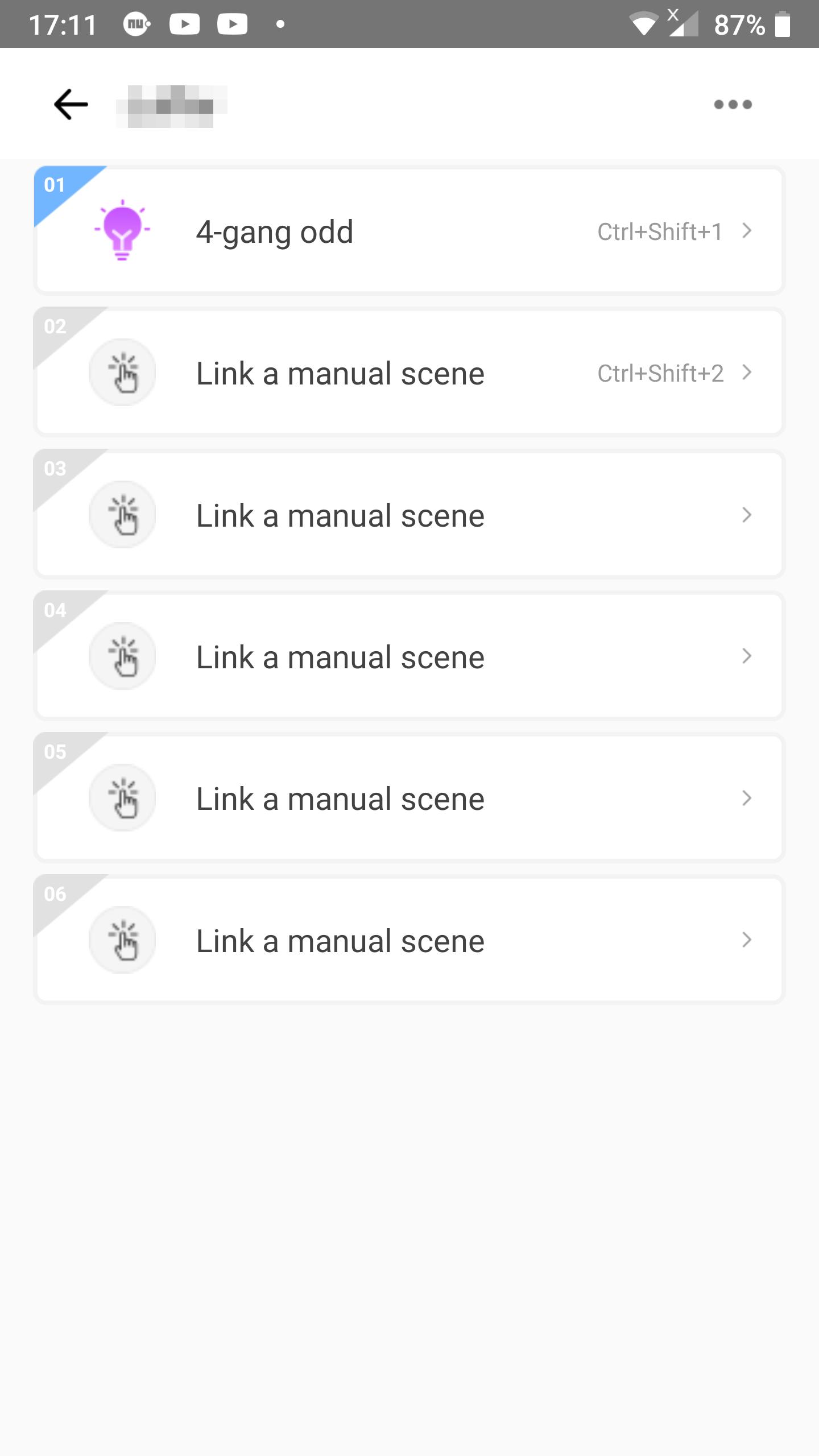 KB: Link 2 scenes to shortcuts in eWeLink Keyboard: linking screen with 1 linked scene