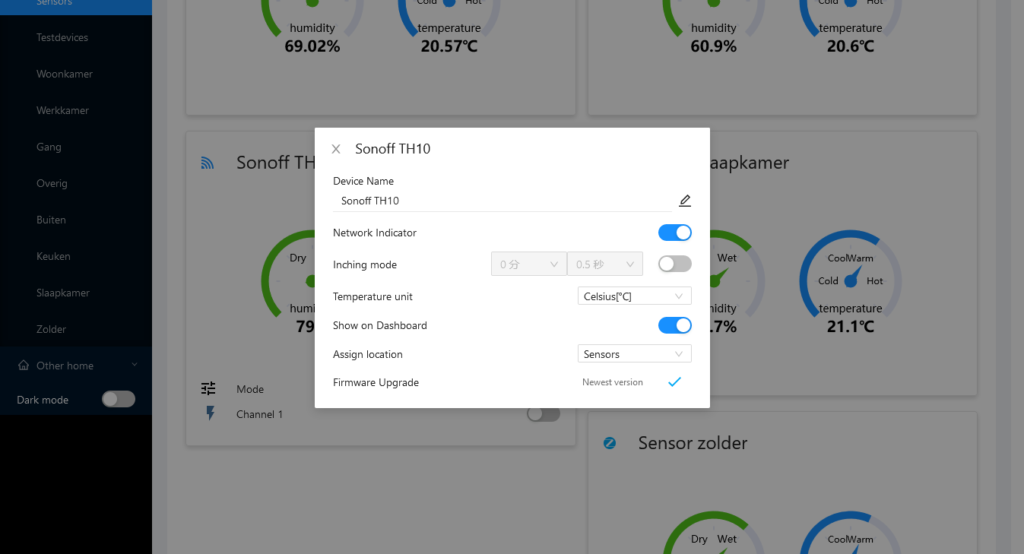 eWeLink Web improvements: Device settings for Sonoff TH10